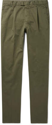 Beams Slim-Fit Tapered Pleated Stretch-Cotton Twill Trousers