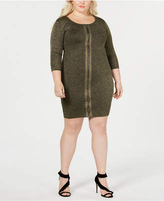Say What Trendy Plus Size Zipper Front Sweater Dress