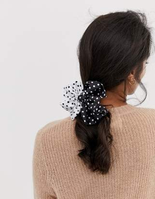 Asos Design DESIGN hair tie with oversized bow in mixed polka dot