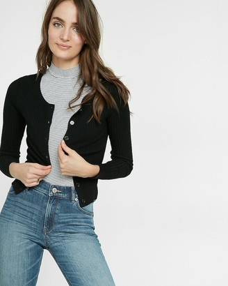 Express Ribbed Crew Neck Cardigan