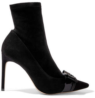Sophia Webster Andie Bow Nubuck-paneled Suede Ankle Boots - Black