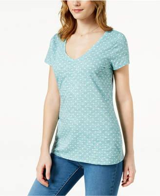 Maison Jules Polka-Dot V-Neck T-Shirt, Created for Macy's