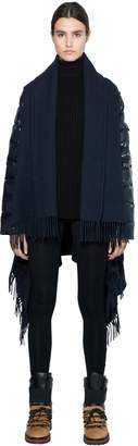 Moncler Wool Cape W/ Laqué Nylon Down Sleeves