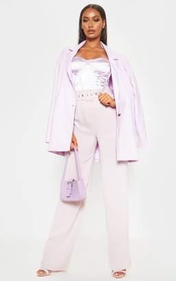 Dusty Lilac Lightweight Woven Belted Wide Leg Trouser