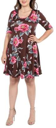 24/7 Comfort Apparel 24Seven Comfort Apparel Gemma Brown Floral Plus Size Mini Dress