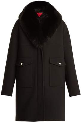 Moncler Melville fur-trimmed wool-blend crepe coat