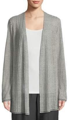 Eileen Fisher Organic Linen-Blend Striped Cardigan