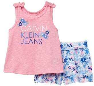 Calvin Klein Graphic Tank Top & Floral Shorts Set (Little Girls)