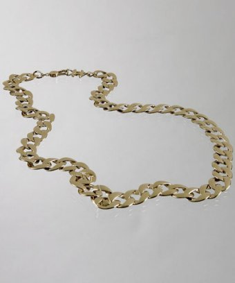 Chanel gold twisted chain link long necklace