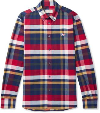 MAISON KITSUNÉ Button-Down Collar Tartan Cotton-Flannel Shirt