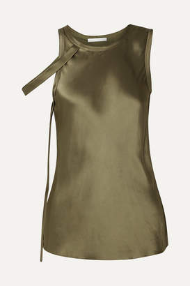 Helmut Lang Draped Satin Tank - Army green