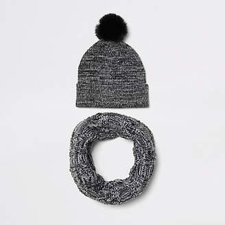 River Island Boys grey faux fur beanie hat and snood set