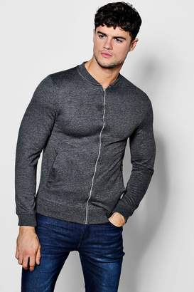 boohoo Muscle Fit Jersey Bomber Jacket