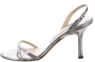 Jimmy Choo Metallic Snakeskin Sandals