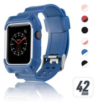 42mm Apple Watch Band by Zodaca Rugged Protective Watch Band Replacement Strap For Apple Watch Series 1/2/3 42mm - Blue/White