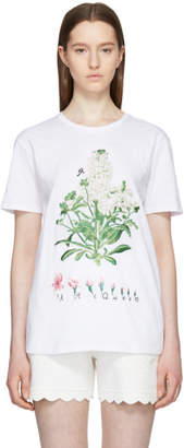 Alexander McQueen White Embroidered Botanical T-Shirt
