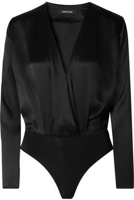 Cushnie - Wrap-effect Silk-charmeuse Bodysuit - Black