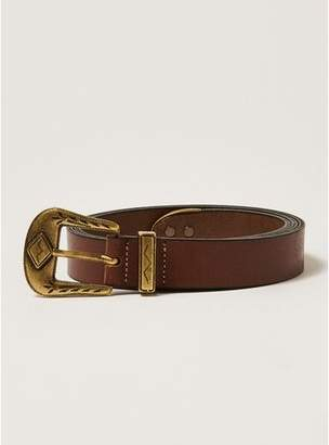 Topman Mens Brown Tan And Gold Western Leather Belt