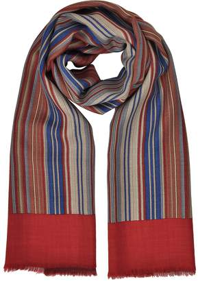 Laura Biagiotti Stripes Printed Wool, Silk and Cashmere Long Scarf