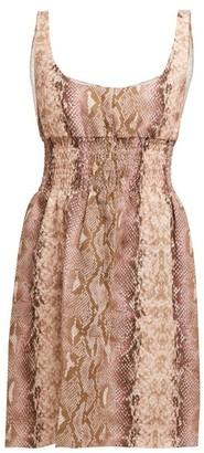 Emilia Wickstead Snakeskin Print Linen Dress - Womens - Pink Print