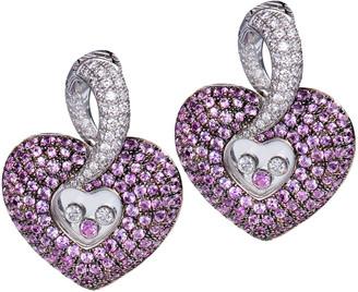 Chopard 18K 6.28 Ct. Tw. Diamond & Pink Sapphire Earrings
