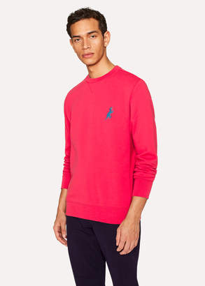Paul Smith Men's Coral Pink Cotton Embroidered 'Dino' Sweatshirt