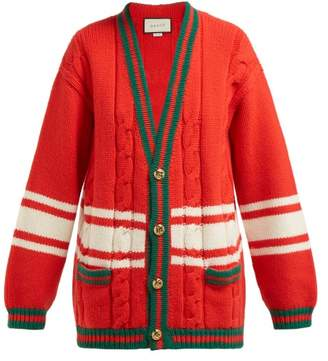 Gucci Gg Web Striped Wool Cardigan - Womens - Red Multi