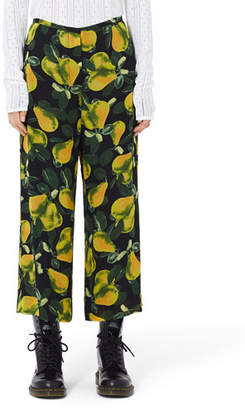 Marc Jacobs Pear-Print Wide-Leg Pull-On Pants