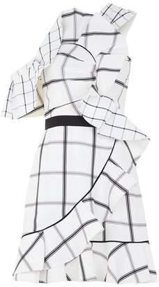 Self-Portrait Asymmetric Check Ruffle Dress