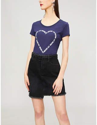 Love Moschino Heart logo-print cotton-blend T-shirt