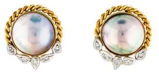 14K Diamond & Mabé Pearl Earrings