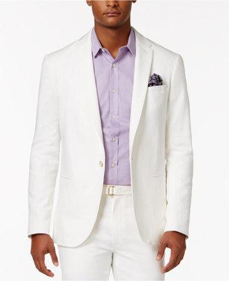 Men's Slim-Fit Cream Lightweight Linen Suit Jacket