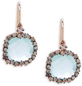 Suzanne Kalan Women's Champagne Diamond, Topaz, Chalcedony & 14K Rose Gold Drop Earrings