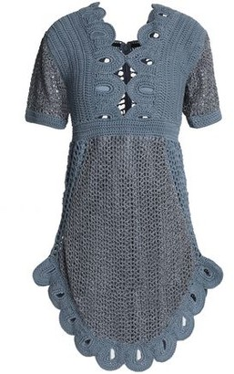 Alice McCall Everybody Knows Cutout Metallic Crocheted Mini Dress