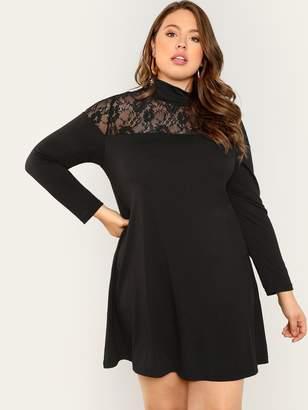 Shein Plus Floral Lace Neck Dress