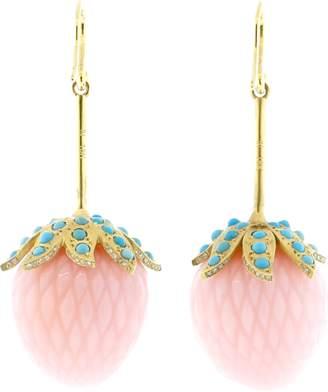 Irene Neuwirth JEWELRY Carved Pink Opal Strawberry Earrings