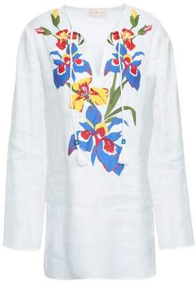Tory Burch Appliqued Linen Coverup