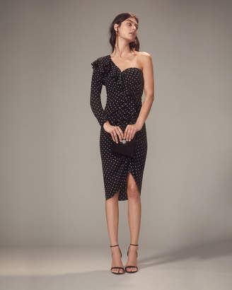 Veronica Beard Leona One Shoulder Black Polka Dot Dress