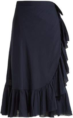 LOUP CHARMANT Ruffled cotton wrap skirt