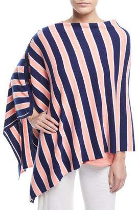 Minnie Rose Striped Cashmere Poncho