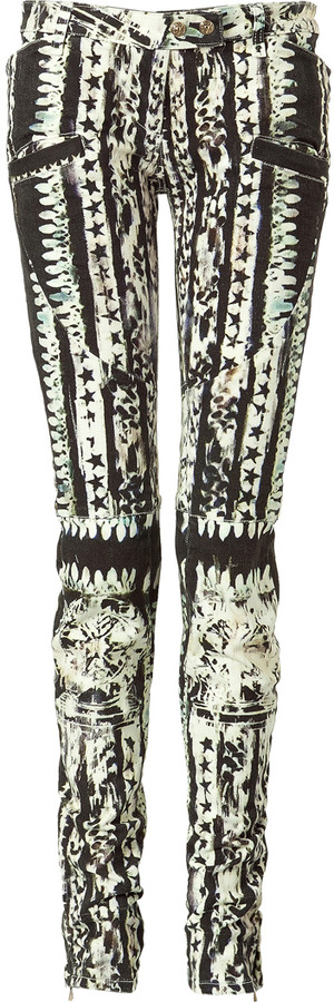 Balmain Black and White Patterned Low-Rise Pants