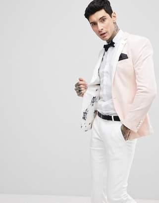 Asos Design Wedding Super Skinny Blazer In Blush Velvet