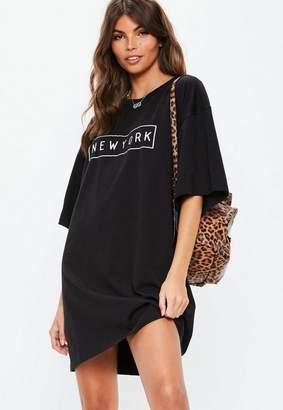Missguided Black New York Oversized T Shirt Dress