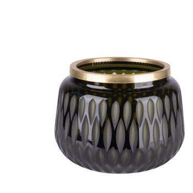 Gift Company Flagon Windlicht / Vase Olivenschliff, S grün