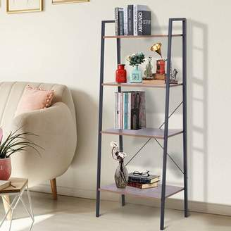 Union Rustic Dario Wood and Metal 4 Tier Retro Industrial Style Corner Ladder Bookcase Union Rustic