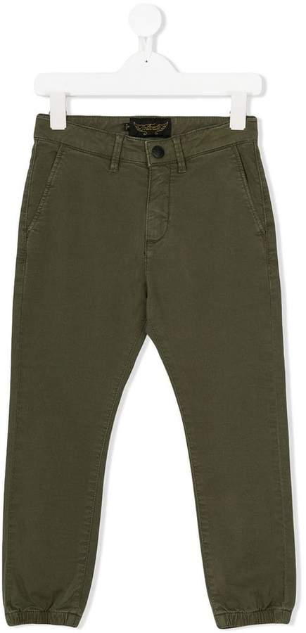 elasticated hem tapered trousers
