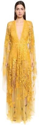 Elie Saab Embellished Silk Tulle Cape Dress
