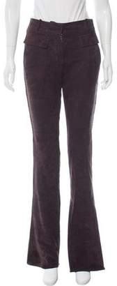 Emilio Pucci Suede Mid-Rise Wide-Leg Pants
