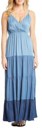 Karen Kane Tiered Chambray Maxi Dress