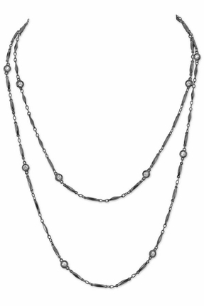 House Of Harlow Gunmetal Crystal Chain Necklace